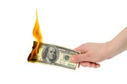 money burning image